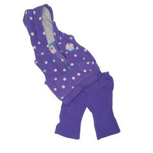 CARTER'S Purple Polka Dot 2 pc Fleece Outfit 3 mo
